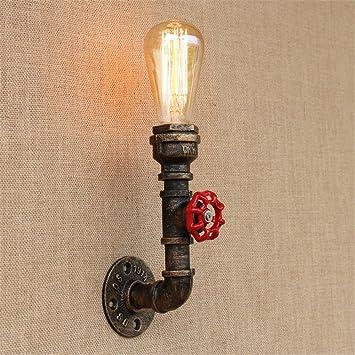 HJZY Loft antiguo retro industrial tubo de agua metal LED pared Accent lámparas aplique de energía ...