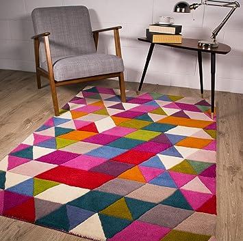 alfombra de lana contemporaneo diseo geometrico multicolor 3 tamaos - Alfombras De Diseo