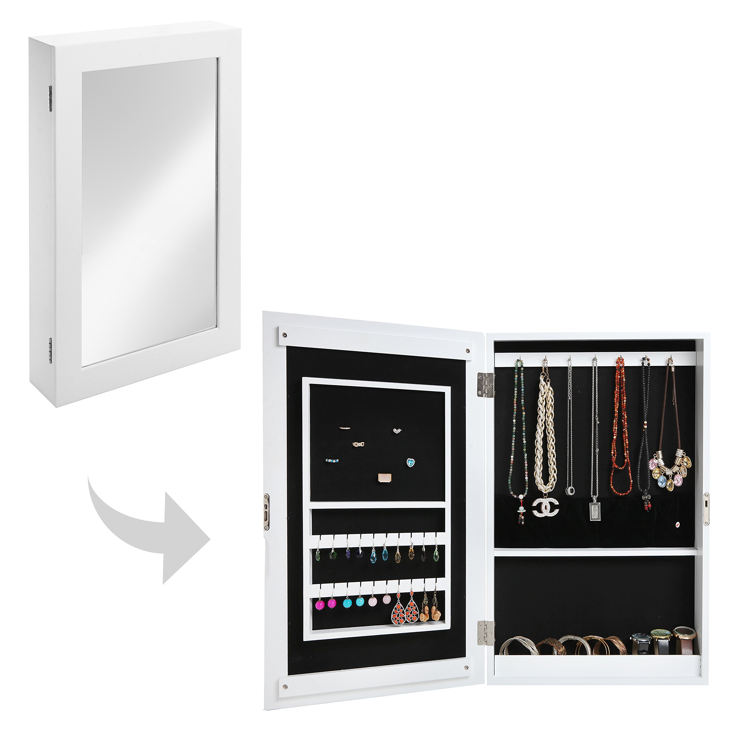 MyGift 24 inch Chic White Wood Wall Mounted Mirrored Multi-Storage Jewelry/Necklace Organizer Cabinet