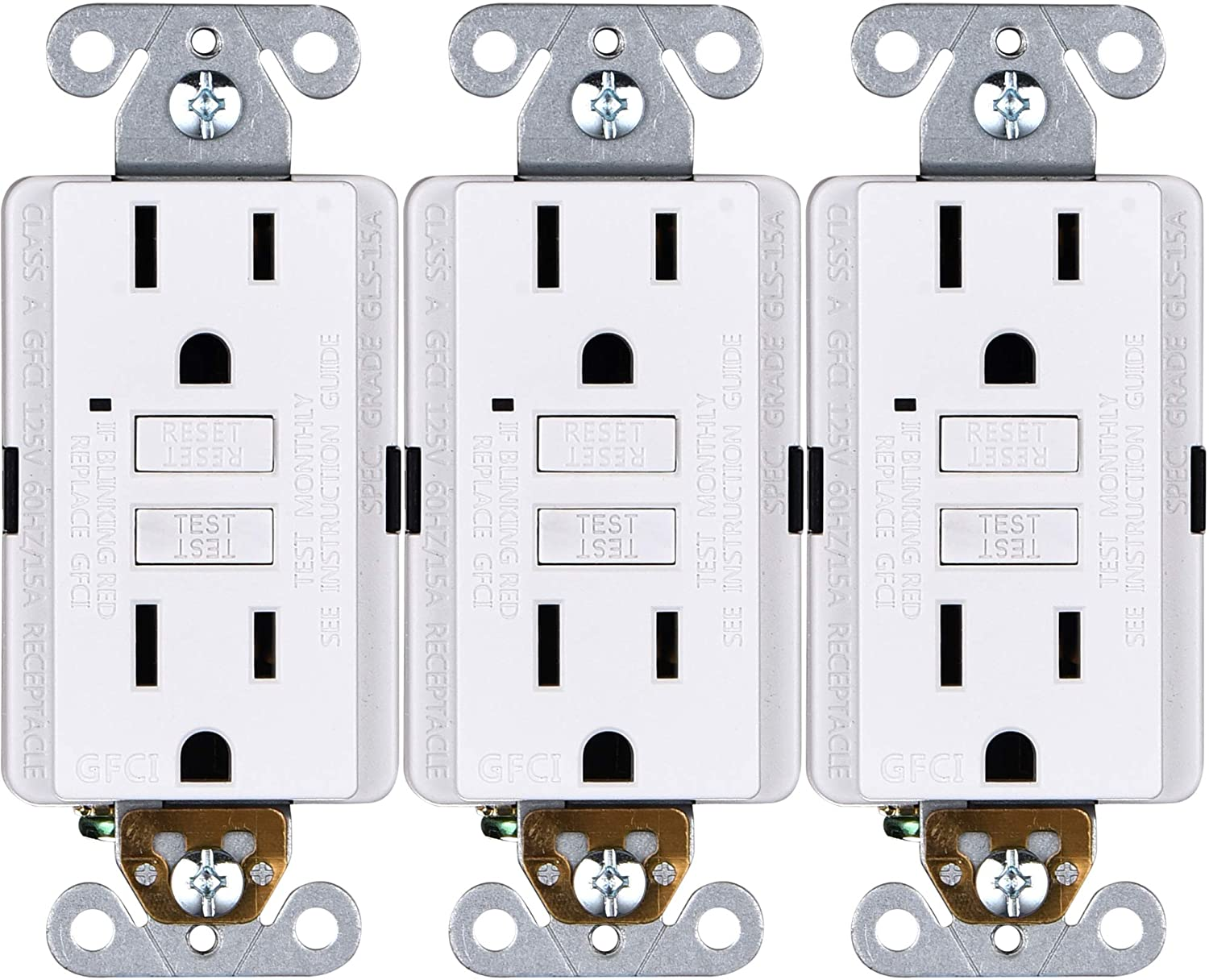 15A GFCI Outlets [3-Pack], Non-Tamper-Resistant GFI Duplex Receptacles with LED Indicator, Self-Test Ground Fault Circuit Interrupter, ETL Listed, White, 3 Piece - -