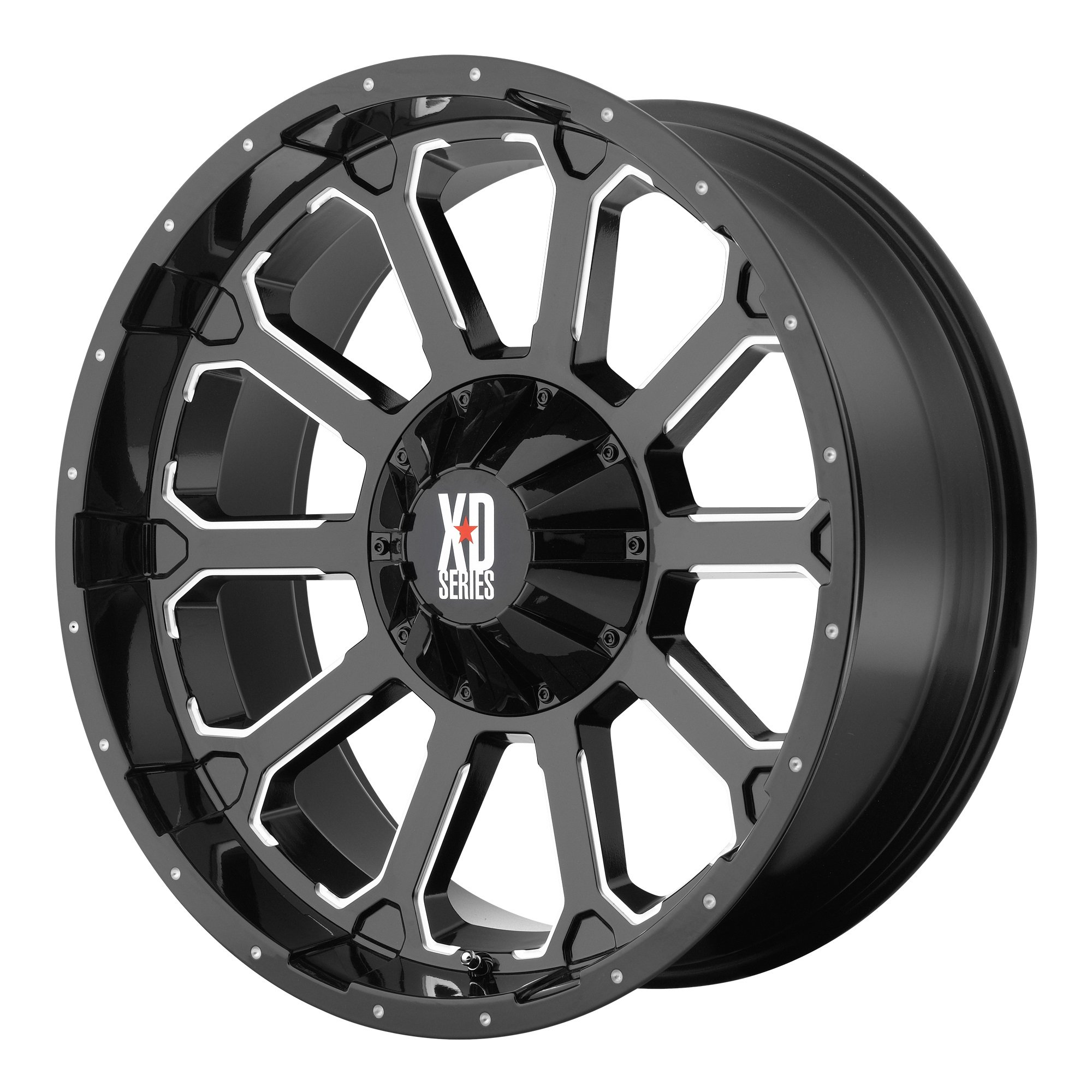 XD Series by KMC Wheels XD806 Bomb Gloss Black Wheel With Milled Accents (20x9''/8x165.1mm, 0mm offset)