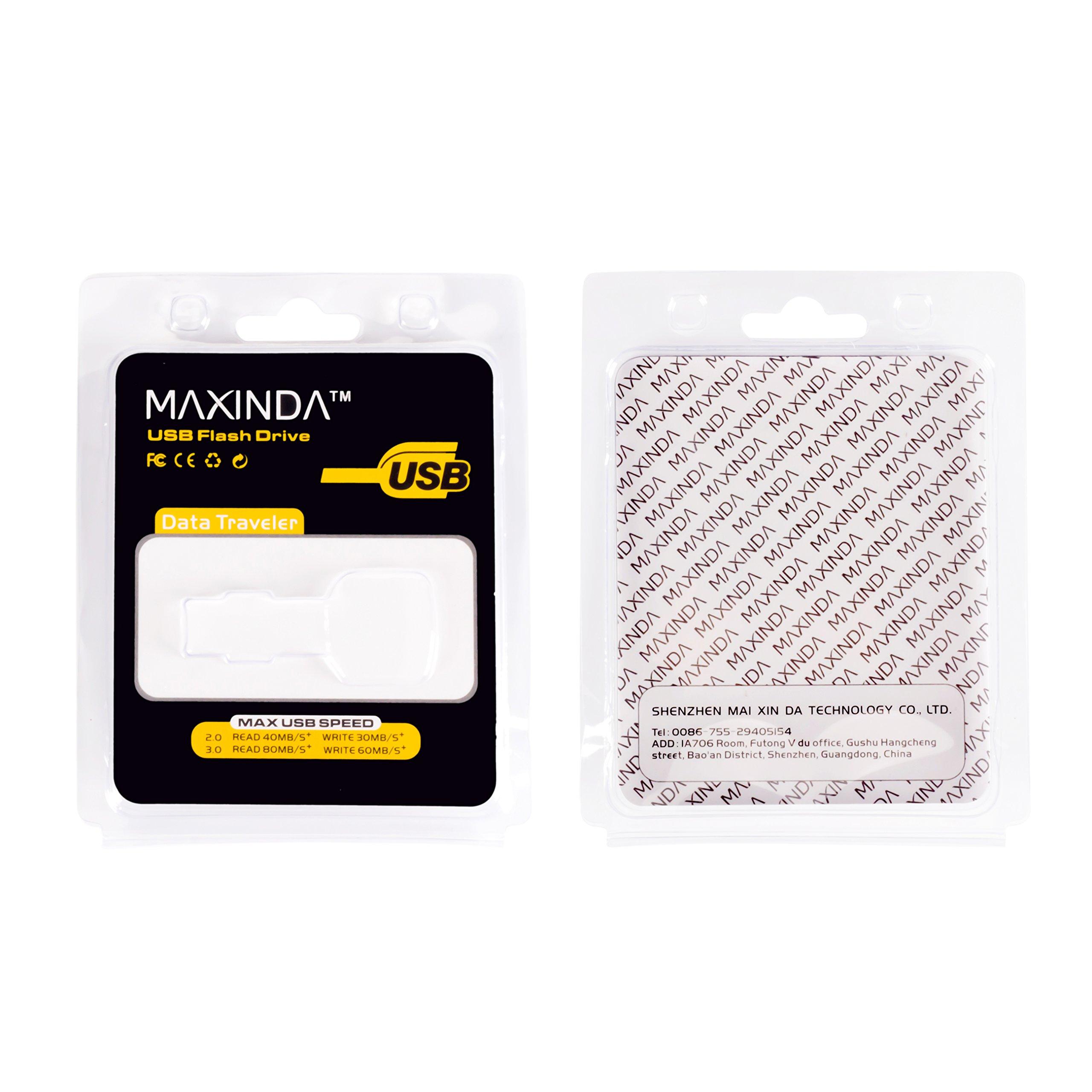 MAXINDA 8GB / 16GB / 32GB / 64GB Chiavetta USB Flash Drive in Metallo forma Chiave 2.0 USB Flash Drive (Nero-32GB)