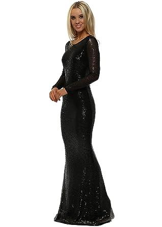 ef1846f0b15 Goddess London Stephanie Pratt Open Back Black Sequin Fishtail Maxi Dress  UK 14 Black  Amazon.co.uk  Clothing