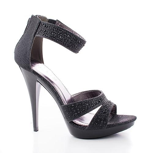 c5db2d4c0f1 Abyss08 Black Shimmering Rhinestone Studded Strappy Stiletto Heel Dress  Sandals-7