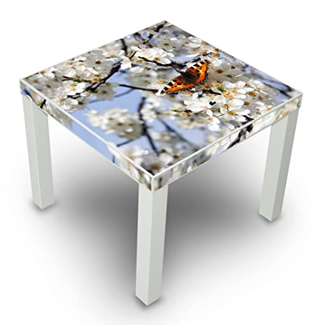 Mesa auxiliar blanco con diseño de flores de cerezo: Amazon.es ...