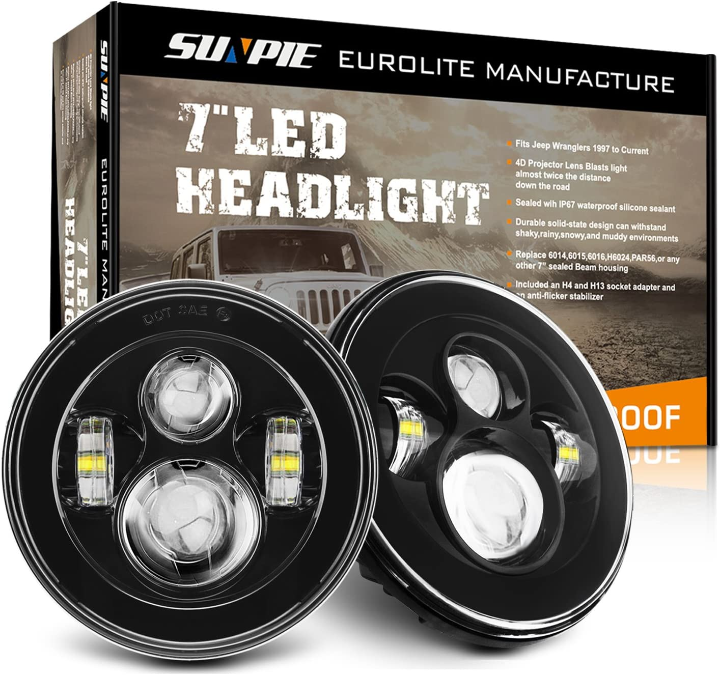 Built in LED CANBUS SUNPIE Single 7 inch LED Headlights with Halo White DRL /& Amber Turn Signal for Jeep Wrangler JK LJ CJ Hummer H1 H2