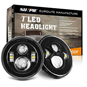 "Sunpie Black 7"" Round LED Projection Headlights Kit for Jeep Wrangler Jk TJ LJ Rubicon Sahara Willys Hummer H1 H2"