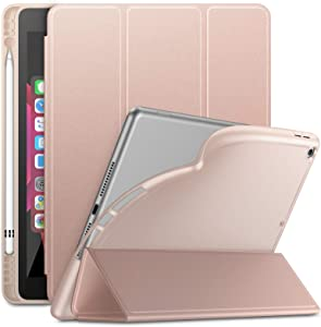 Infiland iPad 10.2 inch 2019 Case with Apple Pencil Holder, Slim Smart Tri-Fold Cover for Apple iPad 7th Generation 10.2 inch 2019 Released Tablet (Auto Wake/Sleep), Rose-Gold