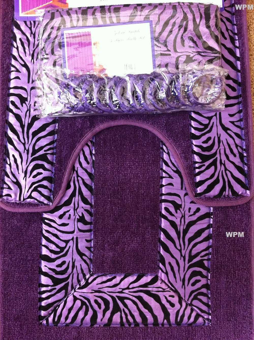 Amazon.com: 19 Piece Bath Accessory Set Purple Zebra Bathroom Rugs ...