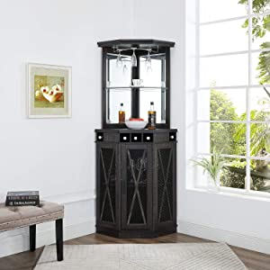 Home Source Corner Bar Unit with Built-in Wine Rack and Lower Cabinet (Grey)