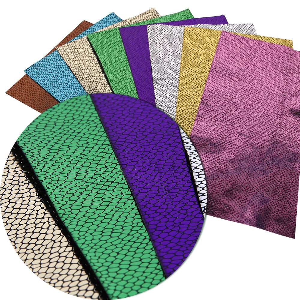 Synthetic Leather Fabric Flower Leaf Printed Leather Sheets 8 pcs 8 x 13 Assort J Canvas Back Craft DIY Craft Assorted Colours 20cm x 34cm