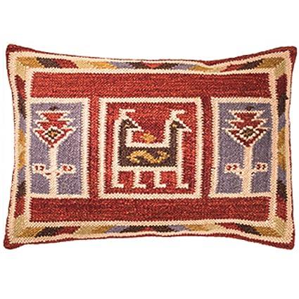 The Indian Arts Canto Kilim Funda de cojín del Comercio Justo Hecho a Mano en telares con 80/20 Lana/algodón y tintes Naturales, 35x50