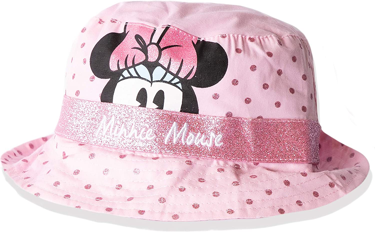 Disney Minnie Mouse Baby Girl Cotton Made Summer Bucket Cappelli da Sole con Nastro Glitery 0-2 anni