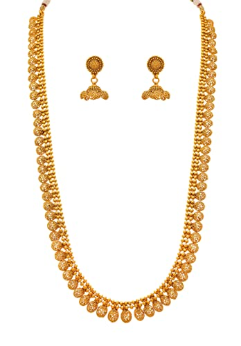 61285cfcd8f7e JFL - Jewellery for Less Traditional Ethnic 1gm Gold Plated Long Necklace  Set with Earrings for Women