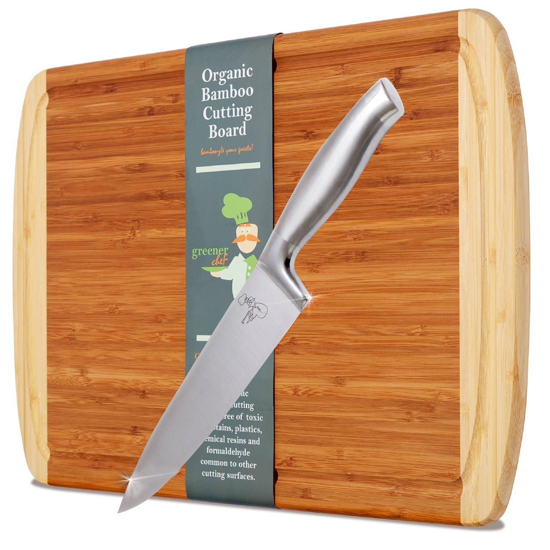 (XL Cutting Board & 20cm Chef Knife Set) - Greener Chef Knife & Bamboo Cutting Board Value Gift Set - 20cm Stainless Steel Chefs Knives - Extra Large Organic Chopping Board - 43cm x 32cm B0746MQN5D