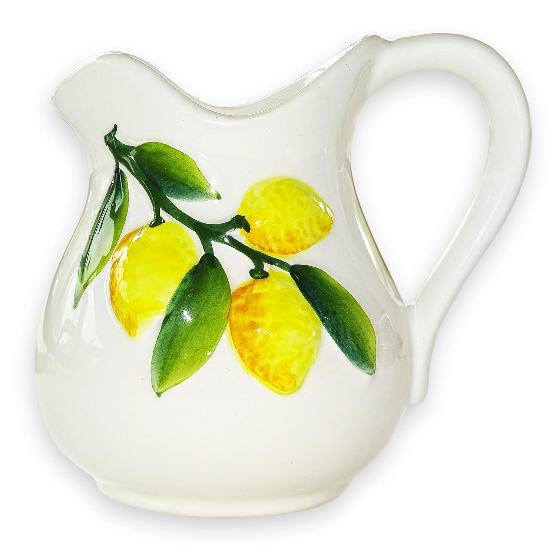 Lashuma handgemachter Keramik Krug, Milchkanne aus Italienischer Keramik mit Zitronen Reliefdekor, Kännchen Füllmenge ca. 500 ml