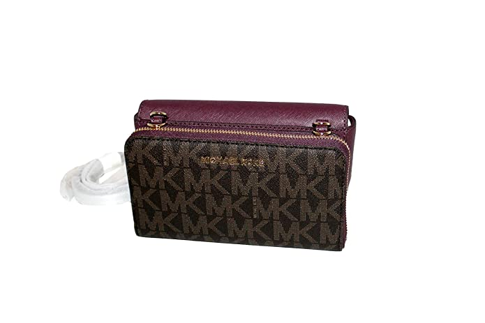 0216b9568bc2 MICHAEL Michael Kors Tina Women's Wallet Clutch Xbody Shoulder Leather  Double Bag MK PRINTED: Handbags: Amazon.com