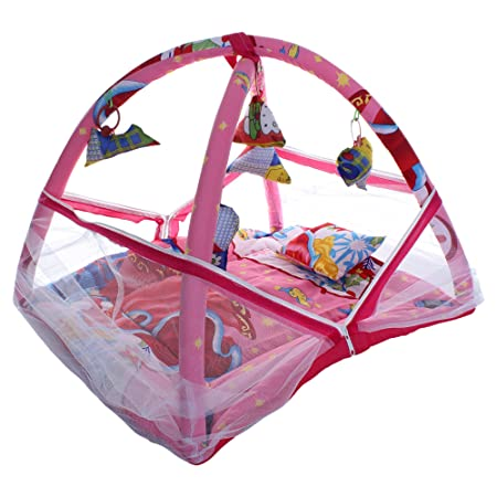CuteBabyLove Baby Cotton Bedding Set with Mosquito Net, Play Gym and Hanging Toys (Pink)