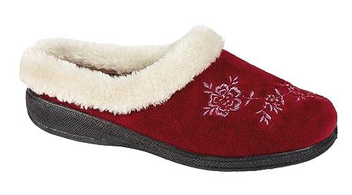 Four Seasons - Zapatillas de estar por casa para mujer rojo granate: Amazon.es: Zapatos y complementos