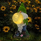 Garden Gnome Statue Resin Figurine Outdoor Flocked Gnome Carrying Magic Orb with Solar LED Lights for Patio Yard Lawn Decorat