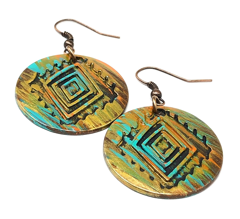 gift for her copper earrings Mediterranean earrings Ethnic boho earrings boho earrings summer earrings small earrings tile earrings