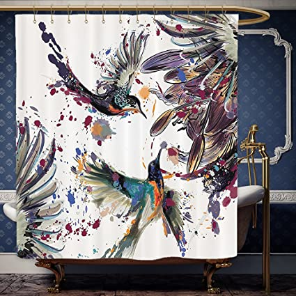 Wanranhome Custom Made Shower Curtain Hummingbirds Set Art With Lily Flowers Birds And Color Splashes