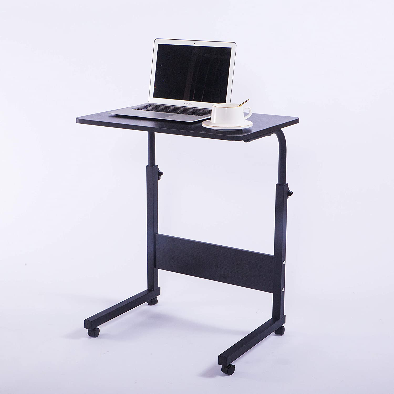 Laptop Cart 23 6 Mobile Table Fancasa Movable Portable Adjustable Notebook Computer Stand With Wheels Black Office Products