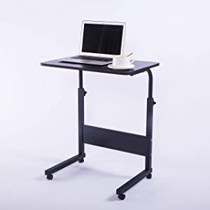 "Laptop Cart 23.6"" Mobile Table Fancasa Movable Portable Adjustable Notebook Computer Stand with Wheels (Black)"