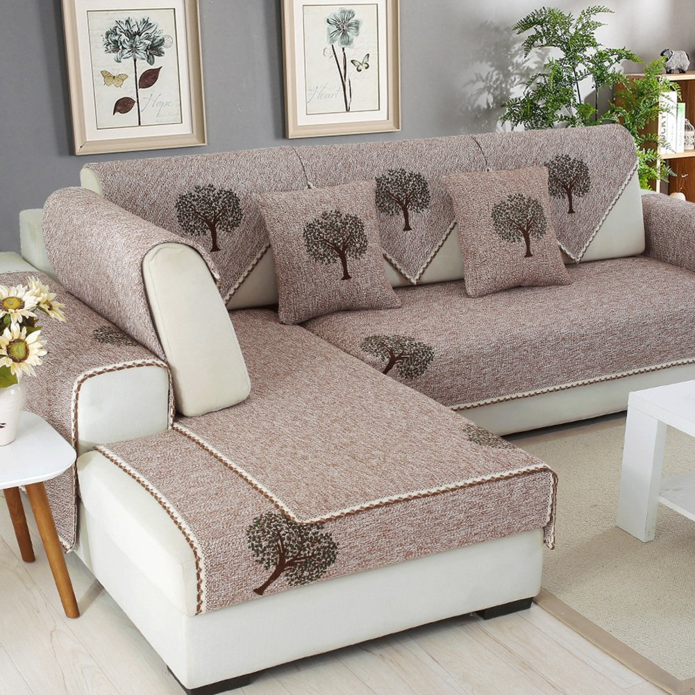 Amazon.com: HM&DX Linen Sofa Cover for sectional Couch Anti-Slip ...
