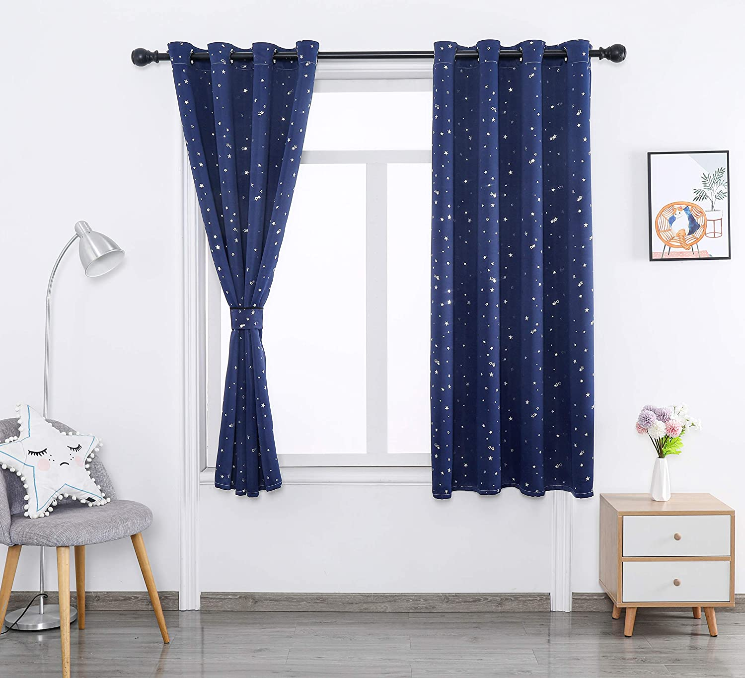 52by84inch Autumn Dream Star Embroidery Linen Kids Blackout Curtains Panels Living Room Grommet Top Blue Kids Curtains for Bedroom