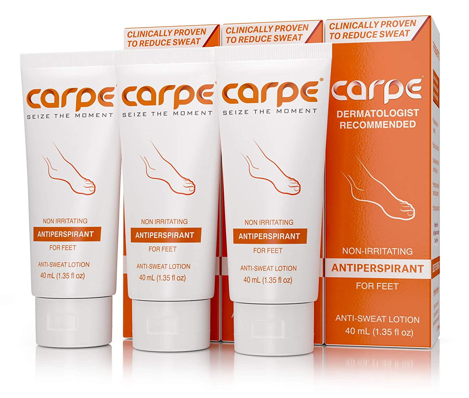 Carpe Antiperspirant Foot Lotion Package Deal (3 Foot Tubes-Save 22%), Stop Sweaty, Smelly Feet, Help Prevent Blisters, Dermatologist-Recommended