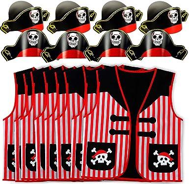 Amazon.com: Tigerdoe - 8 sombreros piratas con 8 chalecos ...