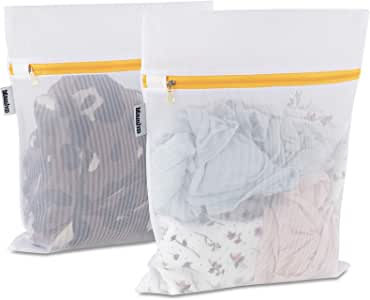 Mamlyn Mesh Laundry Bag for Delicates, Wash Bag for Underwear and Lingerie, Makeup Organizer Bag (2 Small)