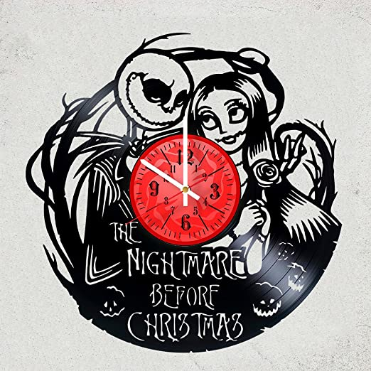 THE NIGHTMARE BEFORE CHRISTMAS VINYL WALL CLOCK Sweet gift for girls or boys merchandise gifts for kids bedroom decoration art Jack /& Sally