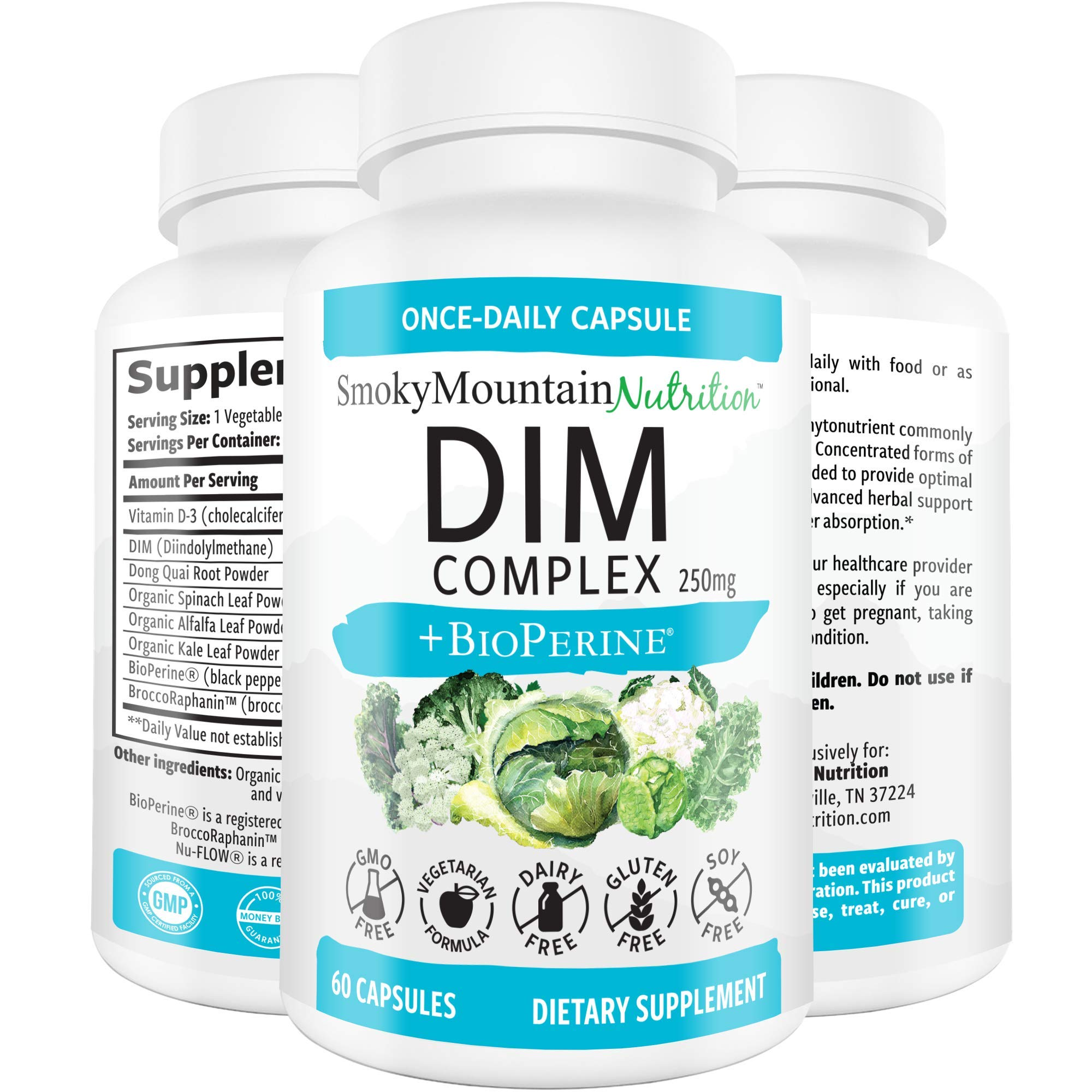 DIM Supplement 250mg Plus BioPerine, Sulforaphane, Dong Quai, Vitamin D, Organic Alfalfa