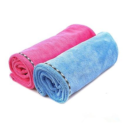 Juego de dos toallas de microfibra ultra absorbentes para secar pelo, turbante con aro elástico
