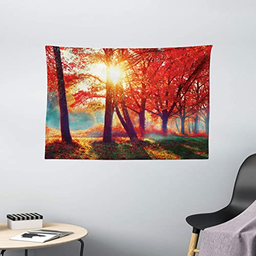 Ambesonne Tree Tapestry, Autumnal Foggy Park Fall Nature Scenic Scenery Maple Trees Sunbeams Woods, Wide Wall Hanging for Bedroom Living Room Dorm, 60 X 40 , Orange Yellow