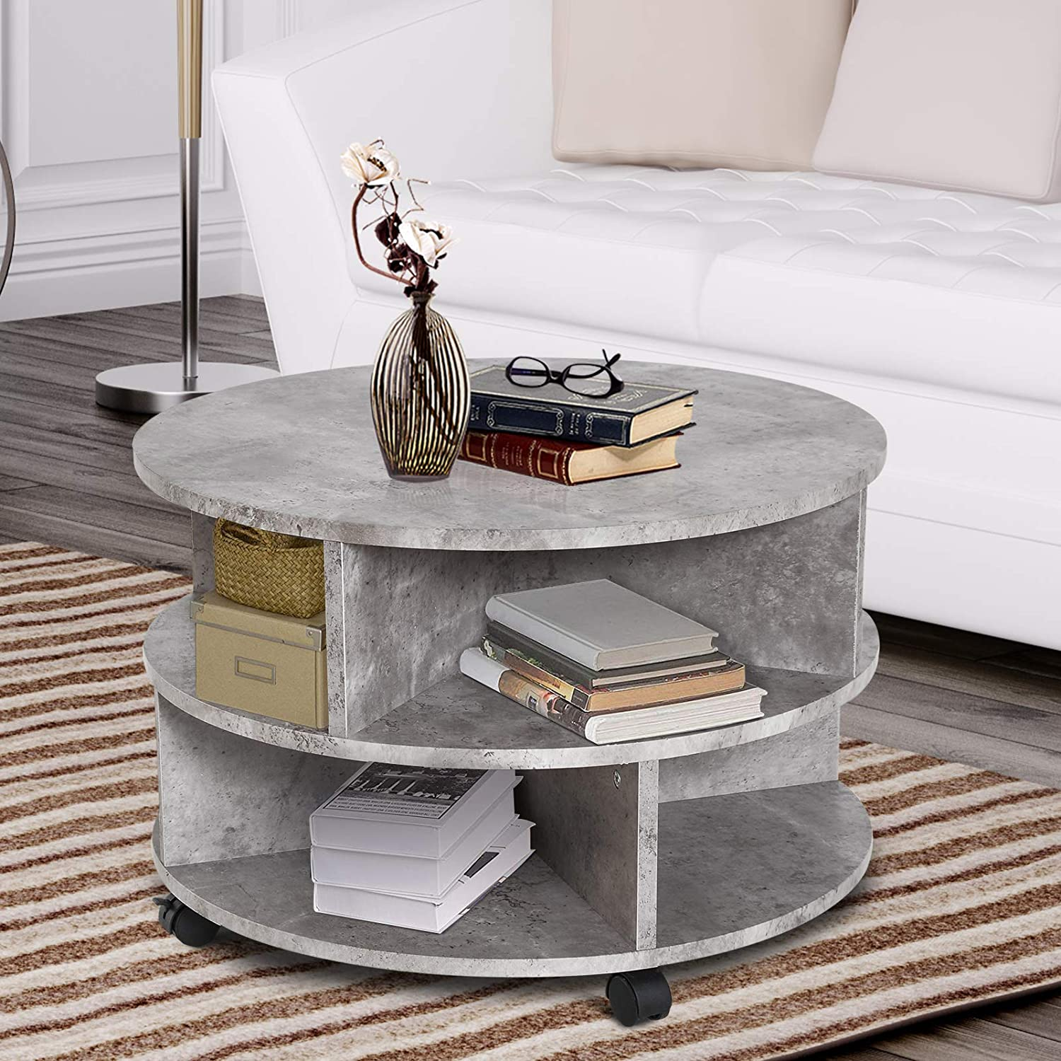 Cement colour Sold by MHSTAR HOMCOM 2 Tier Round Side End Table Coffee Desk with Divided Shelves Tea Table Storage Unit Living Room Organiser with Wheels