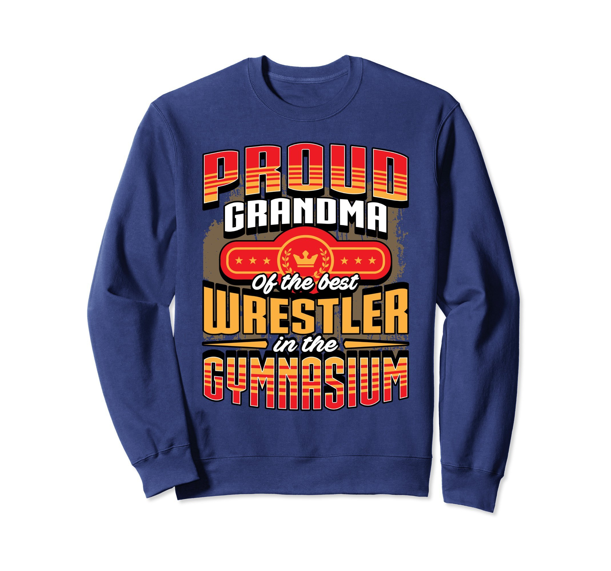 Unisex Wrestling Sweatshirt - Proud Grandma Wrestling Sweater XL: Navy by Wrestling Shirt by Crush Retro