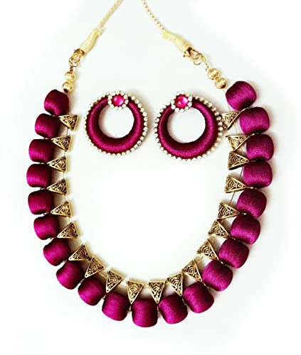 dp set bomaka women necklace purple silk buy for thread