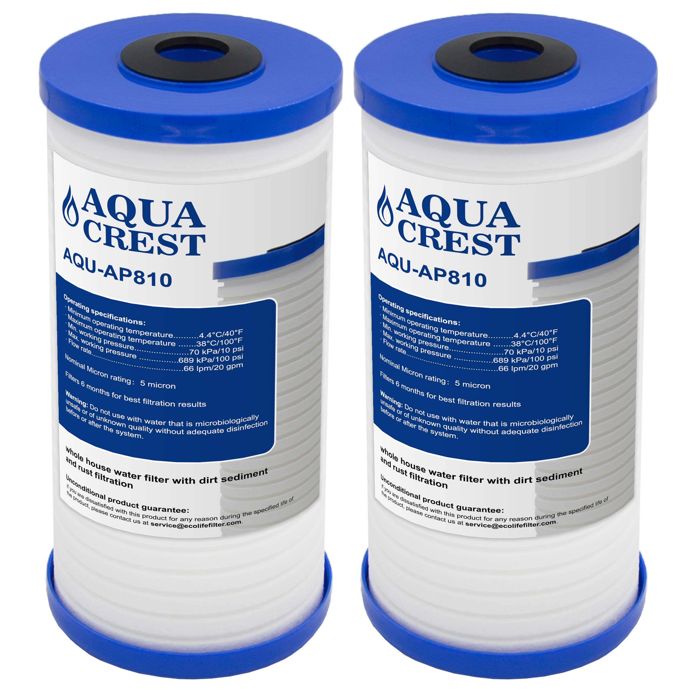 AQUACREST AP810 Whole House Water Filter, Compatible with 3M Aqua-Pure AP810, AP801, Whirlpool WHKF-GD25BB, 5 Micron (Package May Vary)(Pack of 2)