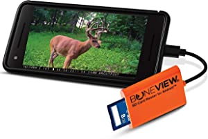 BoneView SD Card Reader for Android - Type C USB Trail Camera Viewer Play Deer Hunting Photo & Video from All Game Cam Memory on Any Smart Phone, Samsung, Moto, LG + Free MicroUSB OTG Adapter