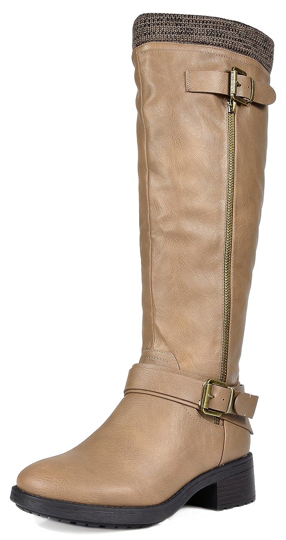 DREAM PAIRS Women's Knee High Riding Boots (Wide Calf Available) B071GM18RJ 7 B(M) US Khaki Pu-wide-calf