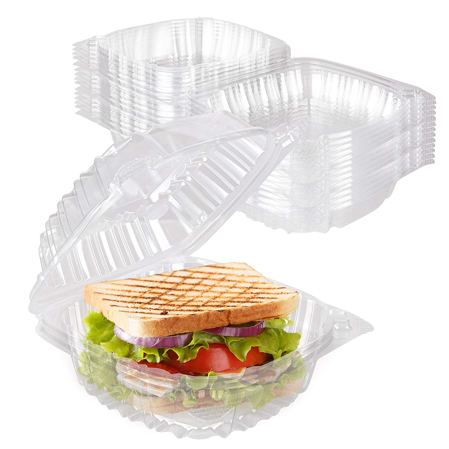 Stock Your Home Plastic 5 x 5 Inch Clamshell Takeout Tray (50 Count) - Dessert Containers - Plastic Hinged Food Container - Disposable Plastic Clamshell Food Containers for Salads, Pasta, Sandwiches
