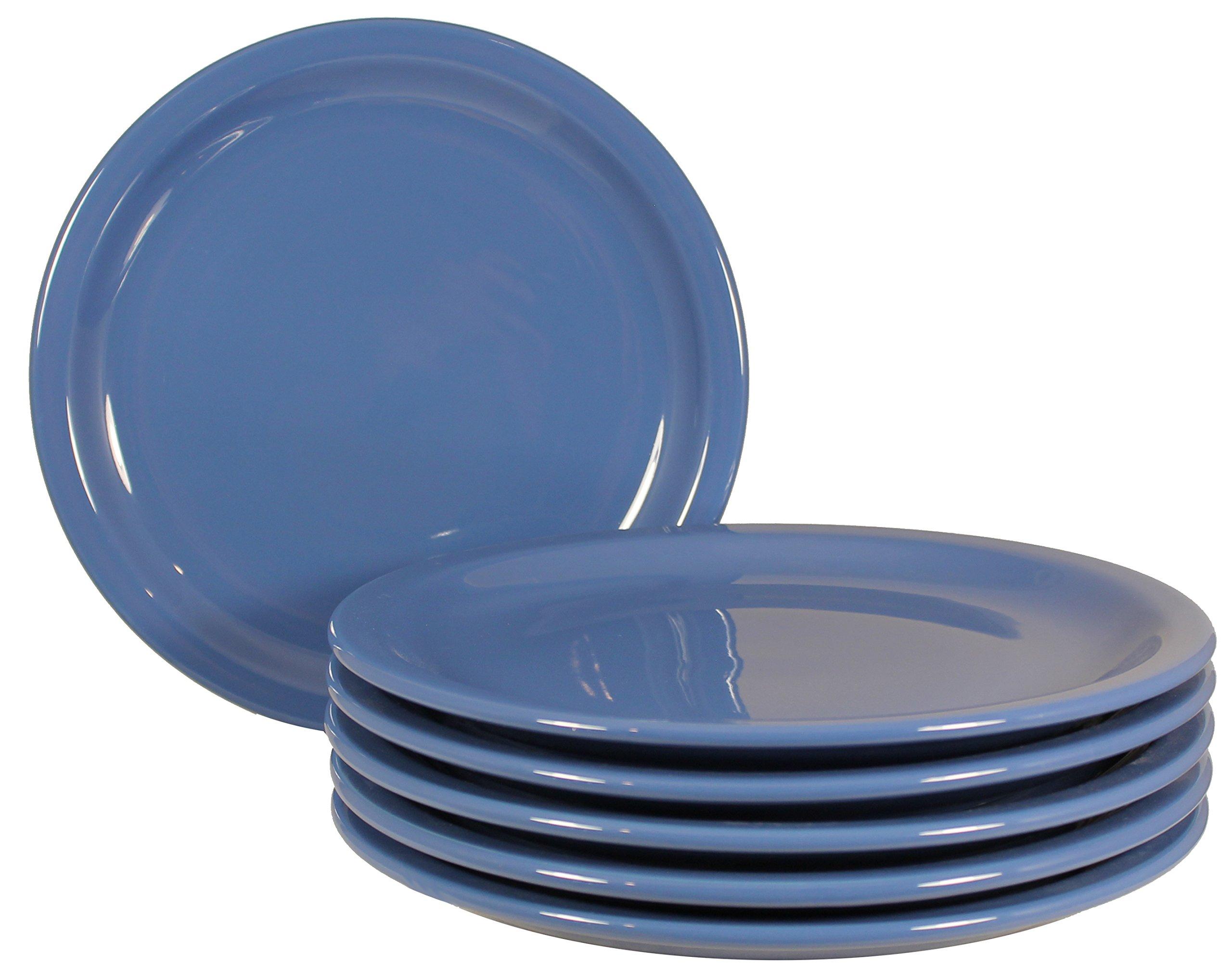 ITI Brighton Ceramic Dinner Plates with Pan Scraper, 6-Pack (9 Inch, Blue)