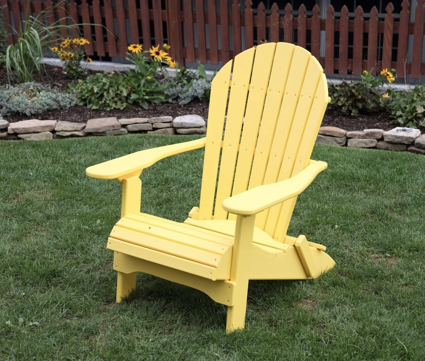 Yellow-Poly Lumber Folding Adirondack Chair with Rolled Seating Heavy Duty Everlasting Lifetime PolyTuf HDPE – Made in USA – Amish Crafted
