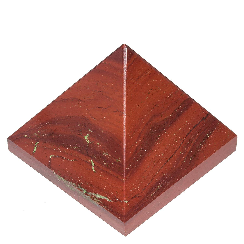 Crocon Red Jasper Gemstone Pyramid generatore di energia per Reiki guarigione chakra bilanciamento Aura pulizia e EMF protezione Dimensioni: 3, 8cm