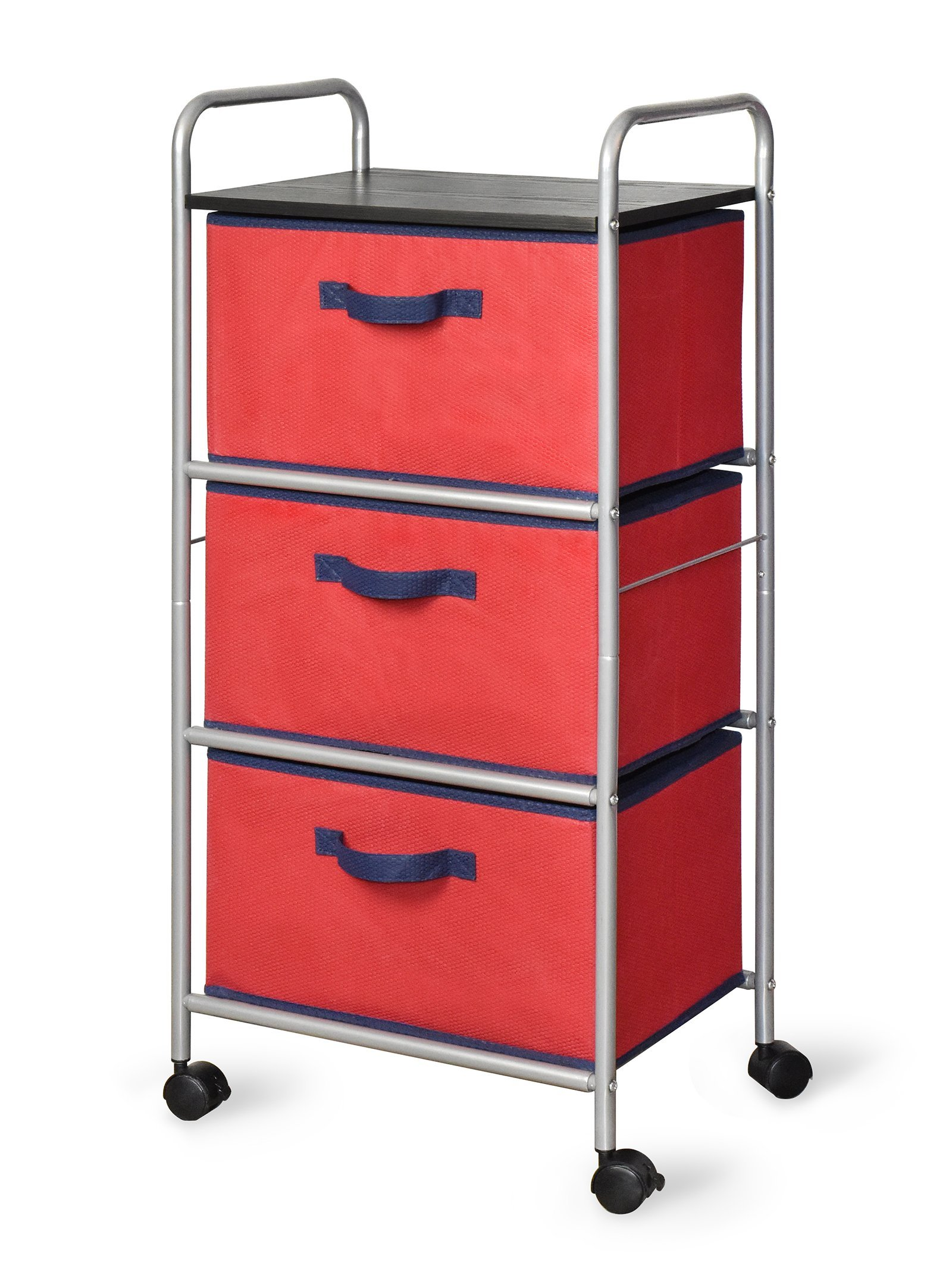 Bintopia 3 Drawer Cart with MDF Top, Red/Blue Trim