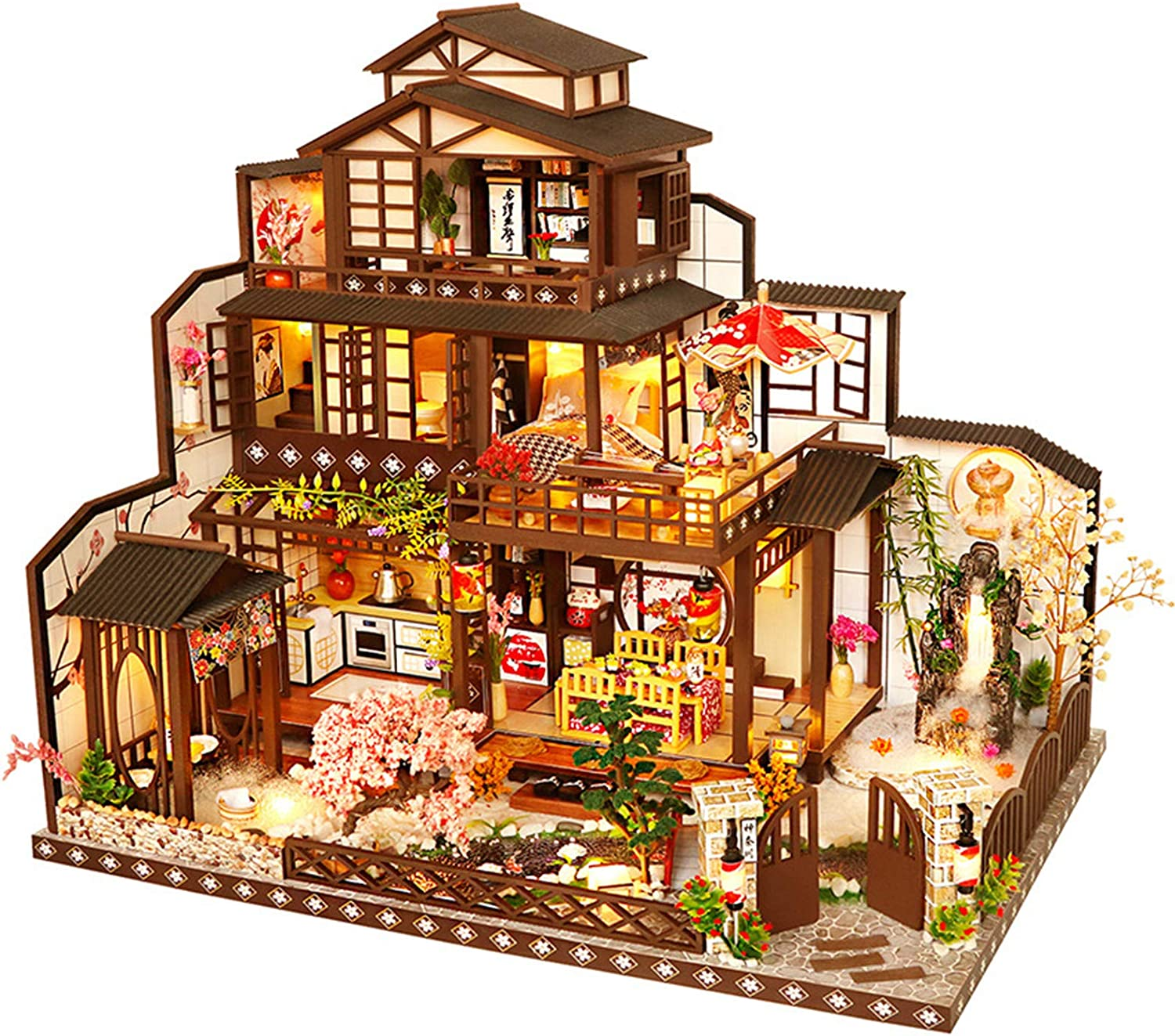 LI&muzi Doll House Miniature Furniture DIY Dollhouse Chinese and Japanese Mixed Style Kit Assembled Miniature Toys for Kids Adult Gifts