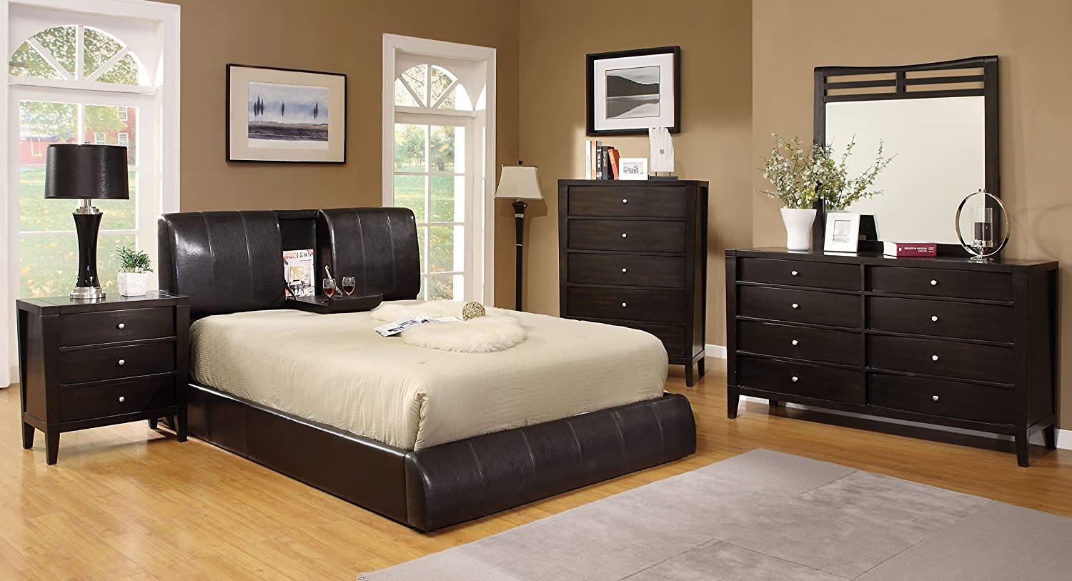 Amazon.com: Furniture of America Stanley Leatherette Platform Bed ...